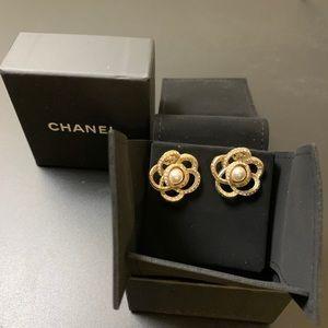 Chanel Camellia pearl earrings